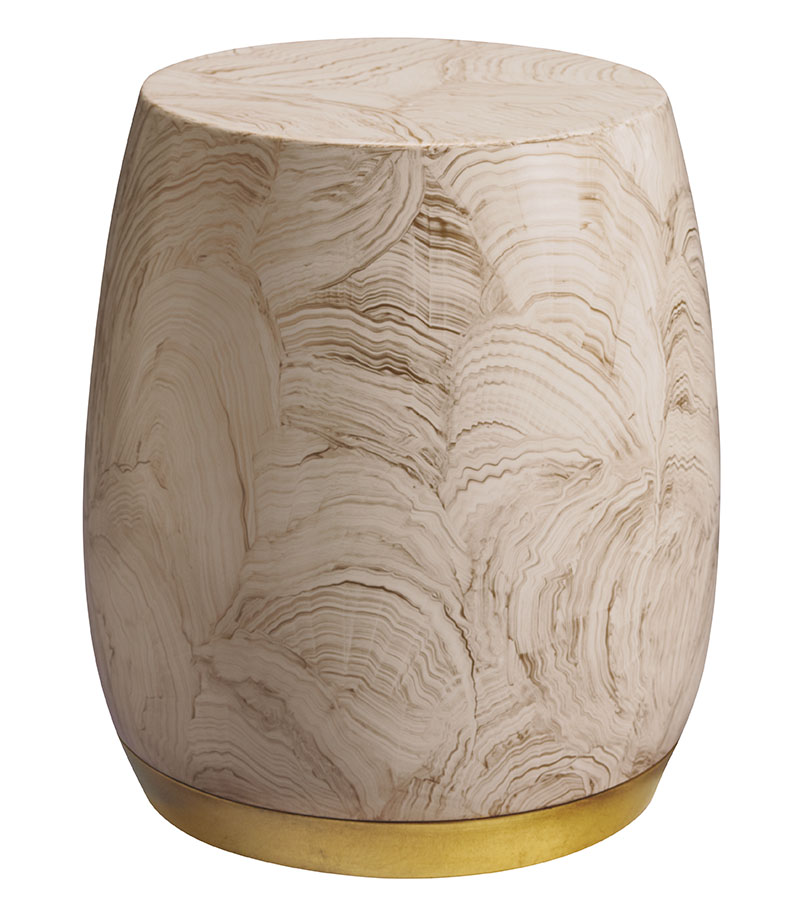 Baker Bauble Drum Table ,Price Upon Request 憨態可掬的鼓形邊桌,表面手繪出天然的紋理,與金色的底座形成鮮明的對比。 At Brougham Interiors, (604) 736-8822  broughaminteriors.com
