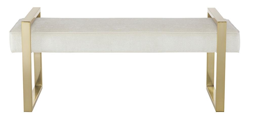 Bernhardt Furniture Jet Set Bench  $1,099 厚實的軟包坐墊懸空在金色的金屬框架之間,演繹出當代的奢華,高度可以調節。 At Paramount Furniture, (604) 273-0155  paramountfurniture.ca