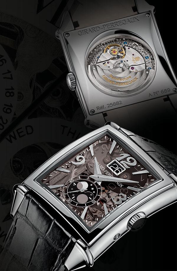 Girard-Perregaux Vintage 1945 XXL GP芝柏錶首次將復古1945系列的機芯呈現於透明的藍寶石水晶錶盤之下。一系列齒輪、螺絲、槓桿和擺輪精緻協調地運行著,實現了複雜的瞬跳日曆和月相功能。大數字顯示的日期窗口,5毫秒內便可瞬跳完成轉換。位於6時位置的月相顯示與秒針同在一軸心上運行,為整個腕錶增添了一絲浪漫色彩。動力儲存46小時,防水30米。 girard-perregaux.com, at Palladio, (604) 685-3885