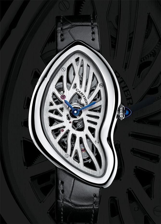 Cartier Crash Skeleton Watch Cartier Crash系列誕生於1967年的倫敦,其設計風格承載了當時「搖擺英倫風潮」(Swing London)的活躍與不羈。據說當時有一位顧客將事故中損壞的Cartier腕錶送回維修,這枚外殼嚴重變形的腕錶引起了時任倫敦總經理Jean-Jacques Cartier的注意,讓人將這獨特的造型收錄進設計圖庫中。後來,又依據外殼設計了完全吻合的機芯。今年,Cartier再度將這款經典腕錶呈現於世,鏤空錶盤下盡顯巧奪天工的機芯。鉑金錶殼,鱷魚皮錶帶,動力儲存約3日,防水30米,限量67枚。 cartier.com, at Boutique Cartier Vancouver, (604) 683-6878