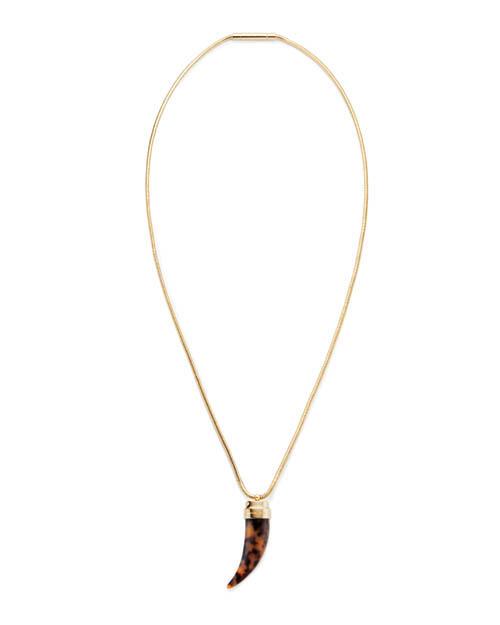 Michael by Michael Kors gold-tone horn pendant necklace 邁可.寇斯之邁可吊墜項鏈 $150  michaelkors.com