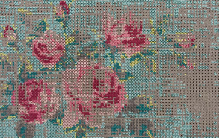 Gandía Blasco Canevas Flower Carpet, Green $4,631   羊毛氈條編織出獨特的馬賽克像素效果,將舊工藝演繹出數碼時代感。   At Livingspace, 604 683 1116   livingspace.com