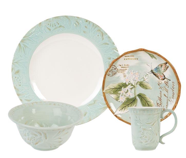 Fitz & Floyd Toulouse Green Dinnerware Collection 浮雕花卉餐具 At Bed Bath & Beyond,  bedbathandbeyond.ca , 604 904 1118