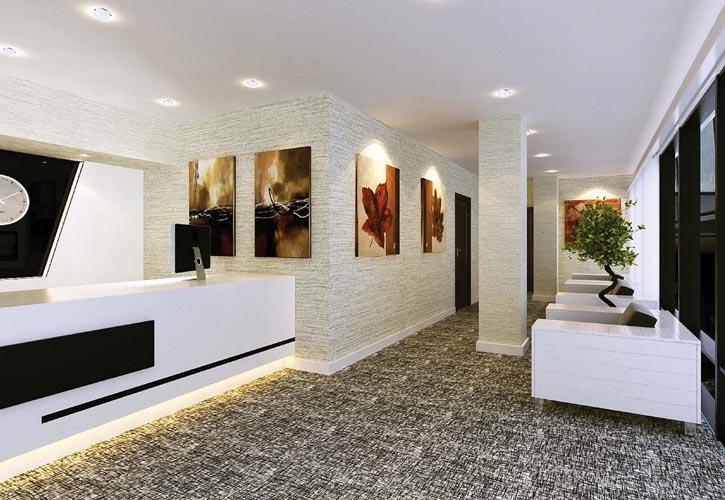 整個商務樓的服務前檯,採用代表水屬性的灰、黑色與代表金的白色,含「金生水」之意,也符合整個大樓所處的金水位。泥土色、紅褐色的壁畫、綠色的盆栽,則將土、火、木其它三種元素添加進來,讓整個大廳五行循環調和完整。