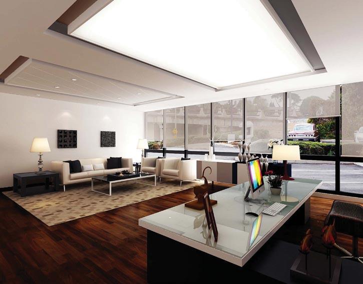 泥土色系的裝潢最適宜地產公司和保險公司,可以用深淺不一的深棕、米色等為整個空間營造出層次。再搭配上金屬性的白色家具,符合「土生金」的相生關係,也是不錯的選擇。