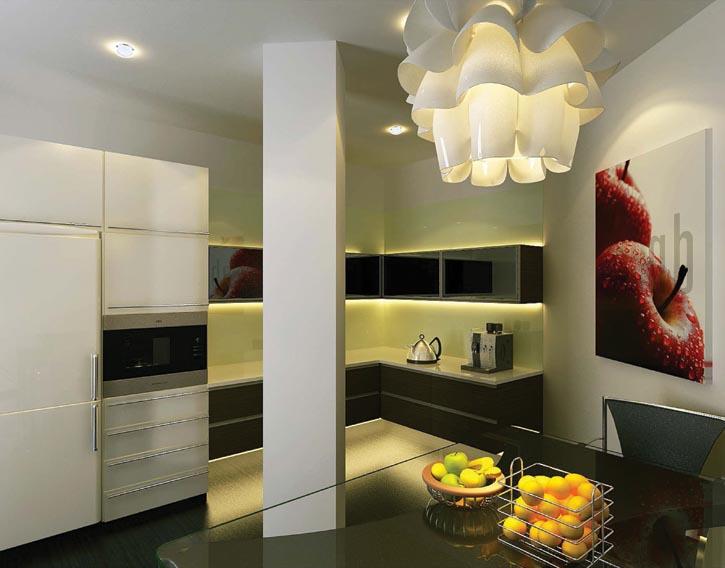 廚房位於整棟大樓的西北角,同樣是黑灰白的「金生水」色彩搭配,並通過裝飾品、電器等平衡五行關係。
