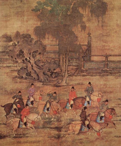 古人清明節的活動內容非常豐富,有踏青春遊、盪鞦韆等習俗。右圖為五代趙喦畫作《八達春遊圖》,展示當時宮廷貴族策馬春遊的情景。