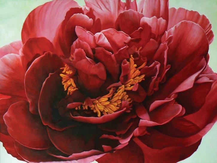 Madeleine Wood為了紀念一位和癌症抗爭的友人而於2011年創作的名為「Gwendolyn」的牡丹油畫。