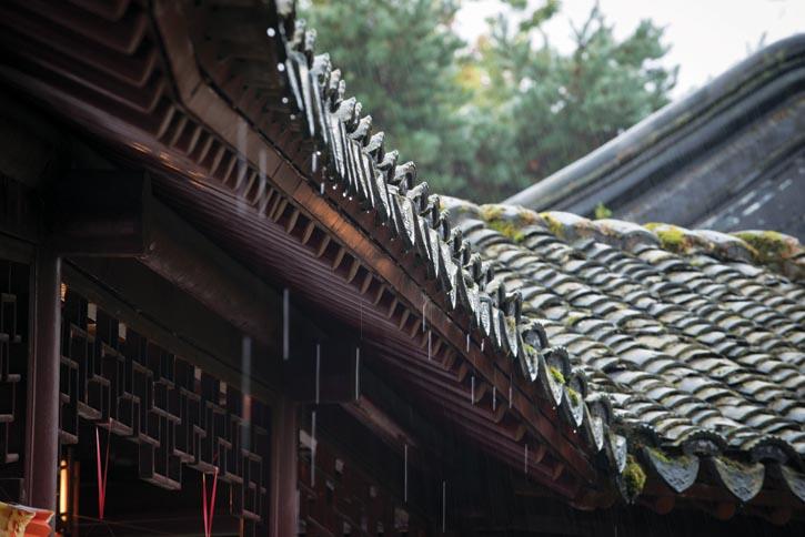 中山公園 廊下聽雨,雨滴沿著瓦片淅淅簌簌地落下,越來越密,成了一道雨簾。