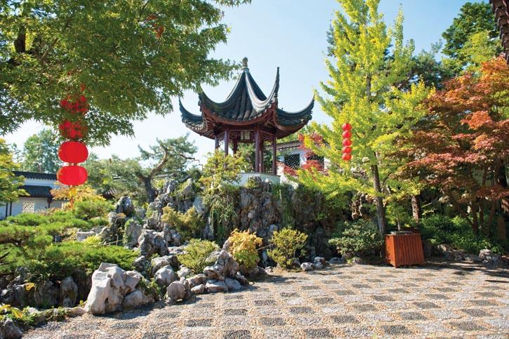 涼亭被假山石簇擁著,園林設計專家們將從中國蘇州太湖遠道而來的石頭設計擺放德渾然天成。