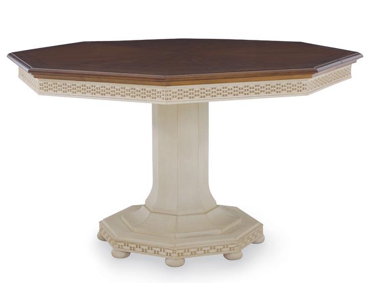 Century Furniture Lexington Dining Table 溫馨的八角木桌,深木色桌面與乳白色桌腿,整體的簡單造型與細節處的精雕細琢,碰撞出盎然的生趣。 At Paramount Furniture, 604 273 0155 paramountfurniture.ca