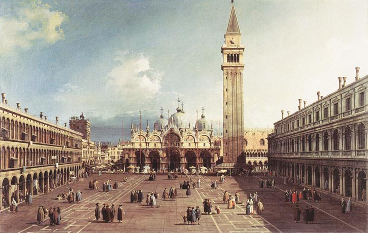 繪於1730年,名為「威尼斯一景」的油畫,描繪了當時聖馬可廣場的情景
