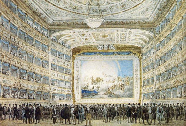 收藏於Correr博物館的油畫,描繪了1837年時La Fenice酒店內景