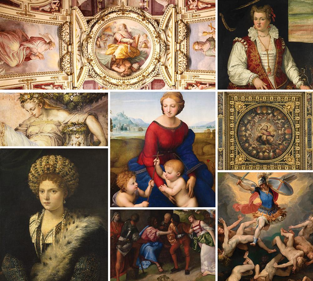 右下:天使長米迦勒和反叛天使, 由朱塞佩·切薩里所作,c. 1592–93,铜板油画。中下: 基督与奸妇 , 由Titian所作,c. 1508-10,画布油画。由Archibald McLellan遗赠于1856 (153,181)。格拉斯哥博物館收藏,美国联邦艺术提供。