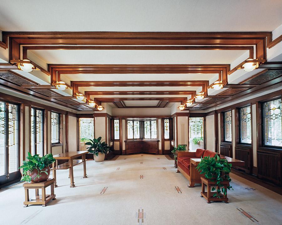 羅比之家(Robie House)的內部裝飾與它的外觀一樣有著悠然的禪意。(Tim Long/ Courtesy of Frank Lloyd Wright Trust)