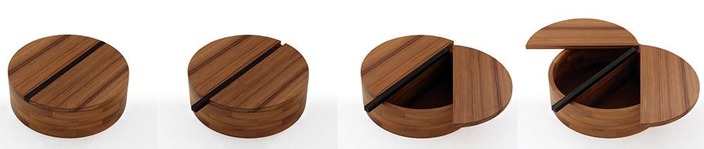 GamFratesi為家具製造商Porro九十年慶「Cabinet of Curiosities」特別活動,打造的匠心獨具的「9Ø」這件木質收納盒。