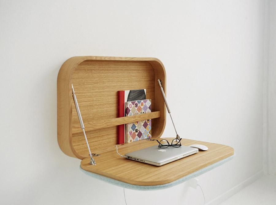 GamFratesi設計作品Nubo,簡潔的線條組成一個獨具匠心的懸掛在牆壁上的小書桌。溫哥華LivingSpace家具店有售。