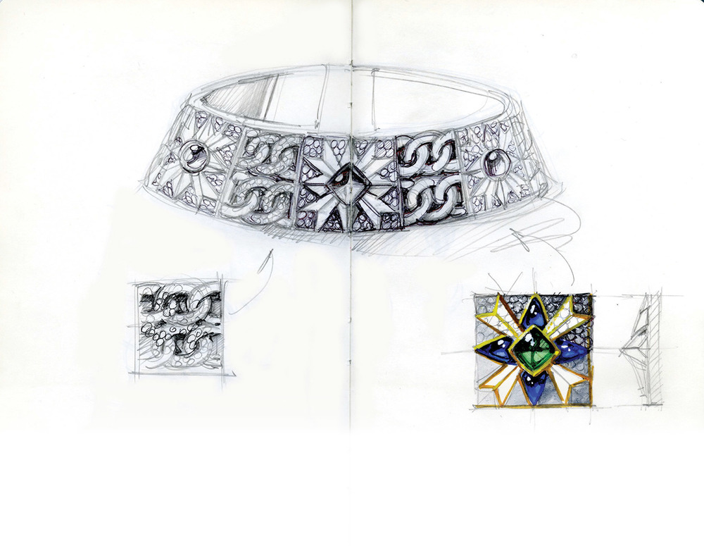 Bodino所繪,Maison Giampiero Bodino誕生之後的第一件作品——Rosa dei Venti頸鏈的設計圖稿。Photo courtesy of Giampiero Bodino