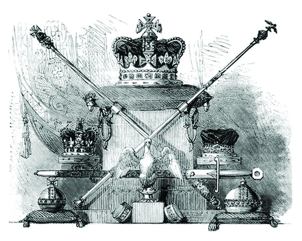 王權之物有142件皇家加冕珠寶珍品,如:皇冠、權杖、寶劍和禮服等。Wikimedia