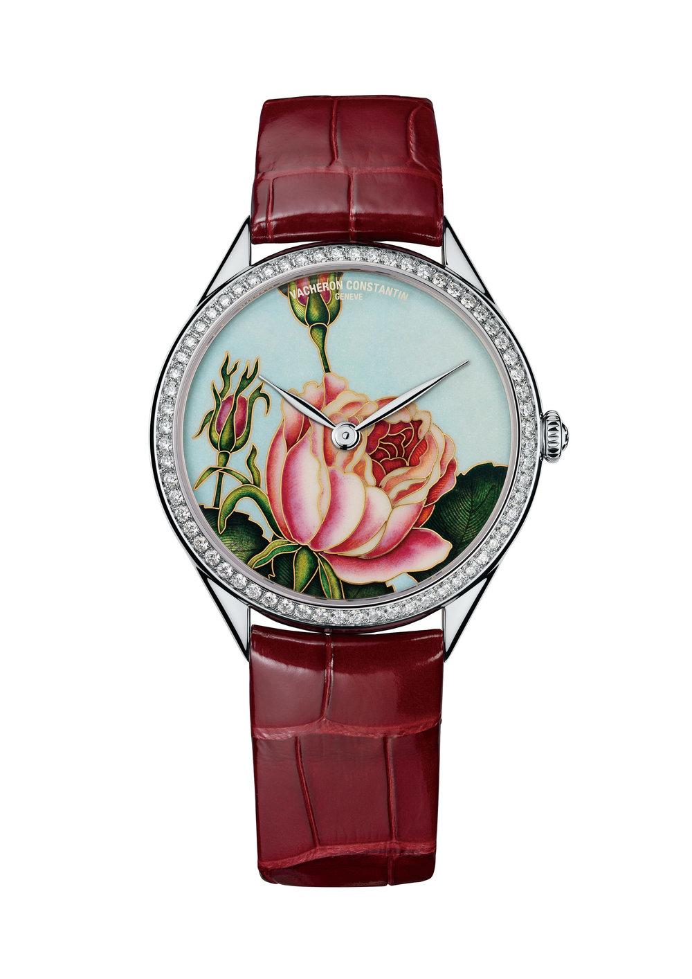 Vacheron Constantin  Métiers d'Art Florilège - Rosa Centifolia Watch Ref. 82550/000G-9919, $152,000  2013年日內瓦鐘錶展上,江詩丹唐首次推出藝術大師系列花之神殿腕錶,錶盤上鮮活嬌豔的花朵令許多女士為之陶醉。集合琺瑯、機刻雕花和寶石鑲嵌等工藝,錶盤上的花卉從花瓣到葉片,從花莖到花蕊,無不描畫的細緻入微,在錶圈上60顆明亮式切割的鑽石的映襯下,宛如一幅大師級的畫作。防水30米,動力儲存約65小時,限量20枚。  At Palladio, (604) 685-3885, vacheron-constantin.com
