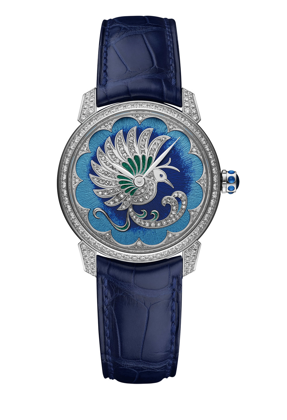 Ulysse Nardin   Classico Lady Watch Ref. 8150-112-2/PB, $47,000  雅典經典系列女裝腕錶一直以華麗的裝飾之美為特色。此款以躍然飛起的鳥兒為主題,18K白金錶殼上鑲嵌有細密明亮的鑽石,當中藍色漸變琺瑯錶盤上,一隻線條流暢、翩然起舞的天堂鳥在花朵形外圈的環繞下愈加璀璨動人。錶冠上裝飾有藍寶石,藍色鱷魚皮錶帶。防水50米。    At Global Watch, (604) 684-6515,  ulysse-nardin.com