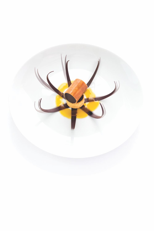 形似來自大海的生物,這道甜品號稱「蛹」。由巧克力、堅果慕斯、焦糖,香橙以及帝王蜜橘冰淇淋組成。Gérald Passédat 喜歡用濃郁強烈的Abysse Noir黑巧克力配合檸檬柑橙的清香酸甜的味道。