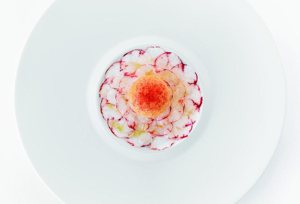 兩吃「海之花園」:第一步是生吃,意式生片龍蝦層層疊疊,嬌嫩如盛開的花朵。
