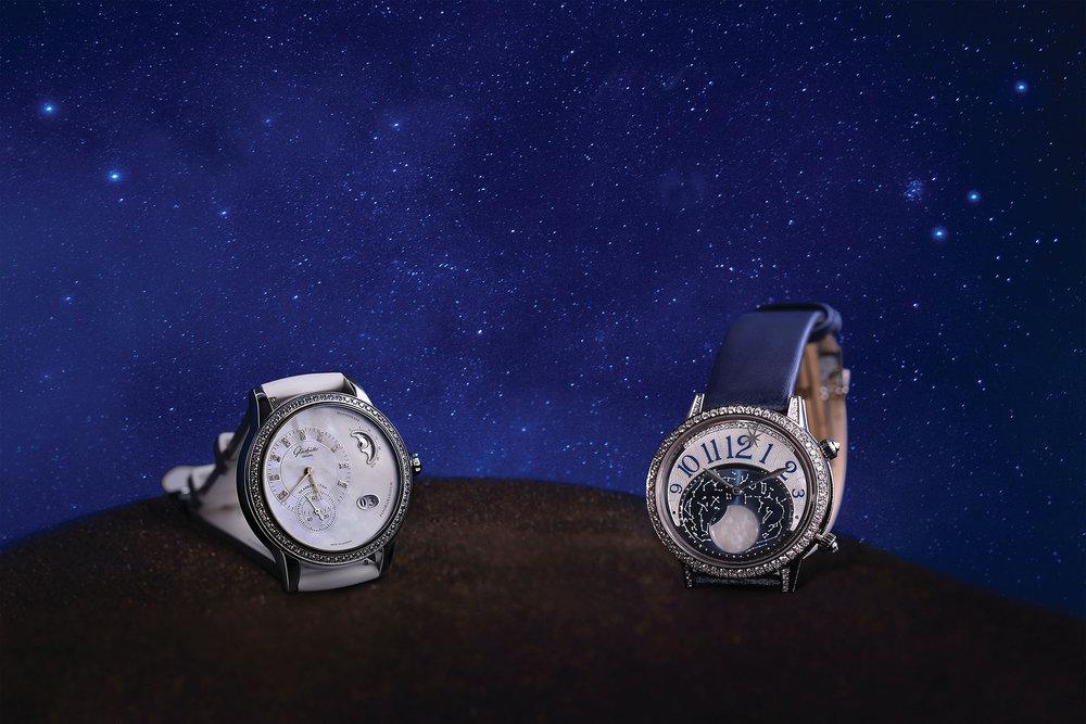 Glashütte Original PanoMatic Luna |Ref. 1-90-12-01-12-02, $21,400 |格拉蘇蒂PanoMatic月相腕錶。錶圈鑲嵌有65顆鑽石,珍珠貝母錶盤上分別有小時、分鐘、秒和月相日期等顯示盤。  Jaeger-LeCoultre Rendez-Vous Moon | Ref. 3533490, $62,000 |積家Rendez-Vous Moon約會系列月相腕錶。白金錶殼,總共鑲嵌有208顆,約2.86克拉鑽石。佔據大半個錶盤的準確的星空圖上有精緻的月相顯示窗口,防水50米。