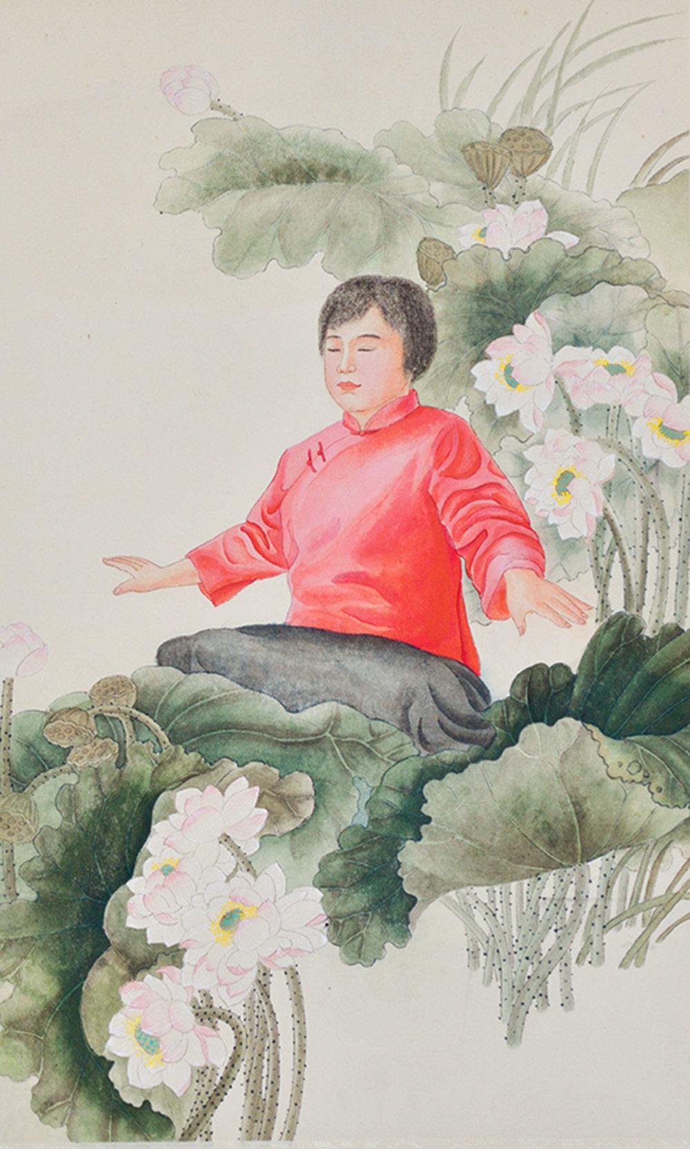 章翠英女士作品《淨蓮》,畫面上是她自己在打坐修煉時的場景。
