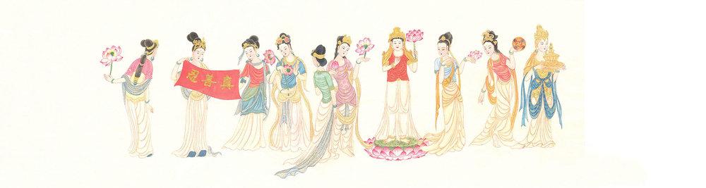章翠英女士作品《神女圖》,描繪了法輪大法洪傳的殊勝和美好。