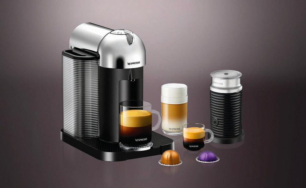 鍍鉻咖啡機、奶泡機 At Nespresso Boutique at The Bay, (855) 325-5781, nespresso.com