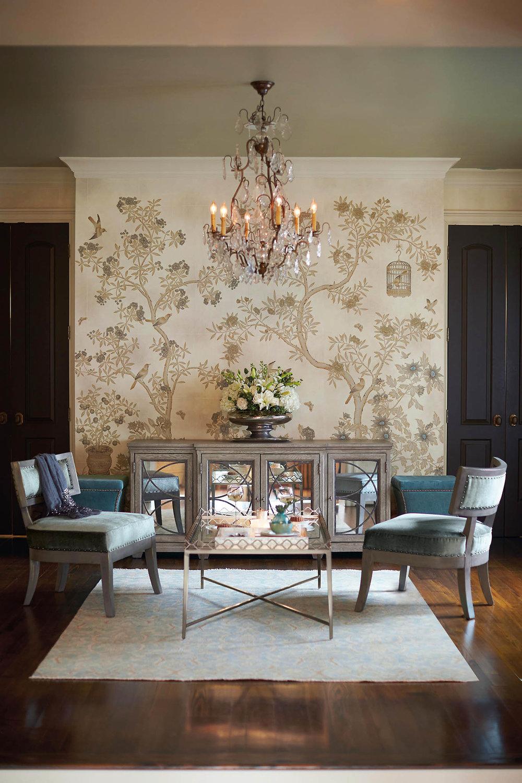 木質椅子、邊櫃,花鳥圖案壁紙  At Paramount Furniture, (604) 273-0155 paramountfurniture.ca