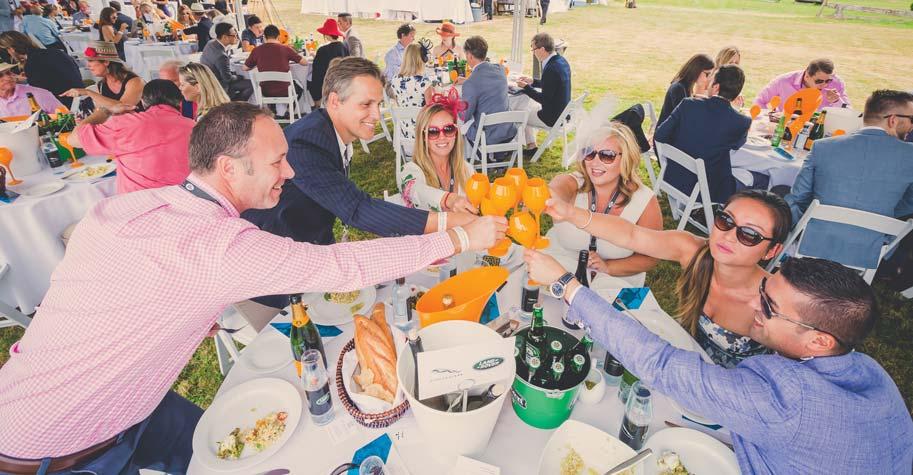賓客們舉杯慶祝美好的一天。