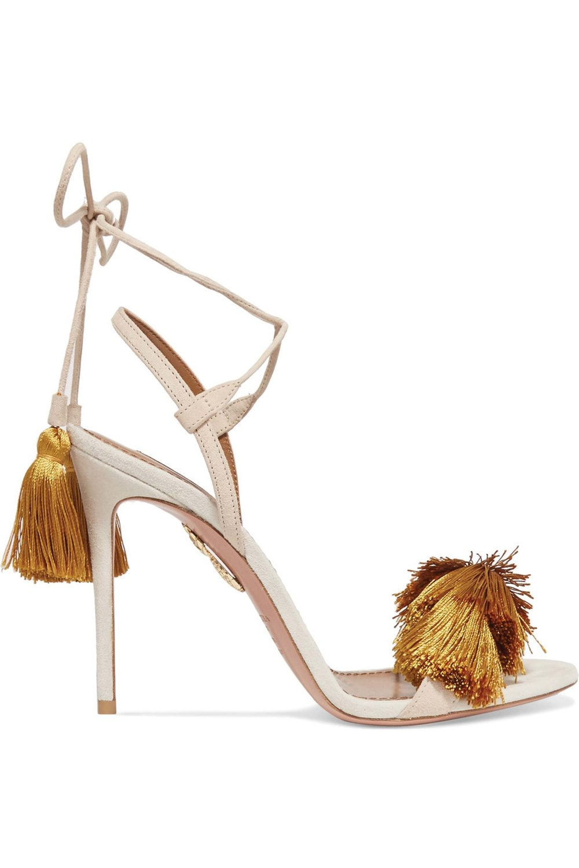 Tasseled Two-Tone Suede Sandals by Aquazzura & Johanna Ortiz US$690 流蘇絨面涼鞋