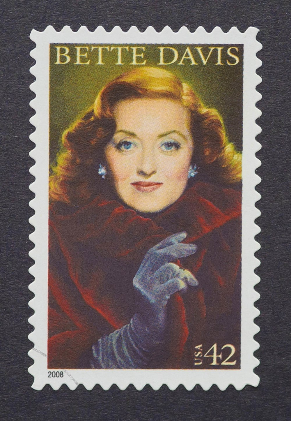 印有好萊塢影星Bette Davis胸像的郵票;Heracles Kritikos/ Shutterstock.com;