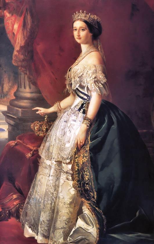 1853年由Franz Xaver Winterhalter繪製的拿破崙三世的妻子歐仁尼皇后肖像畫。wikipedia