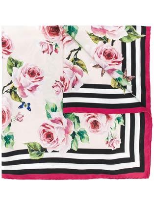 杜嘉班納玫瑰印花絲巾