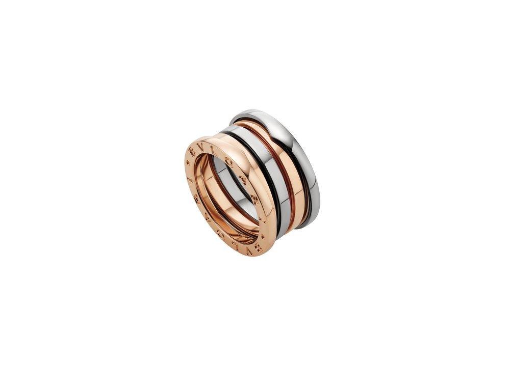 18K玫瑰金、白金戒指