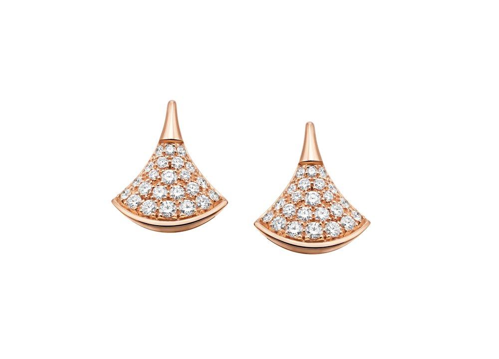 18K玫瑰金鑽石耳環