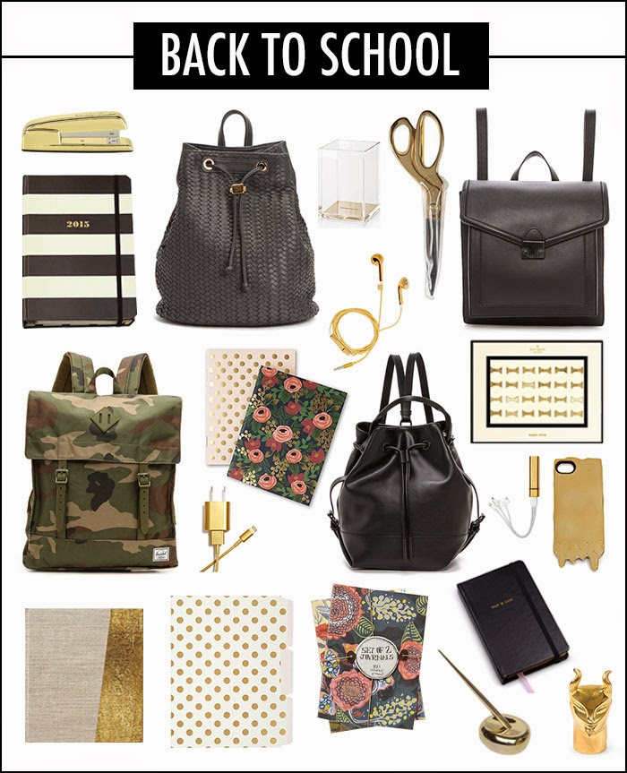gold desk accessories, gold scissors, gold stapler, gold pencil sharpener, gold pen, gold iphone case, kate spade bow push pins, herschel supply co. backpacks, anthropologie dipped gold notebook, rifle paper co. notebooks, kate spade polka dot folders, talk is chic notebook, kate spade black and white striped agenda, acrylic pencil holder