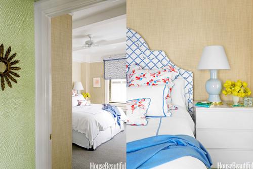 House Beautiful, D. Porthault linens, Christopher Spitzmiller lamp