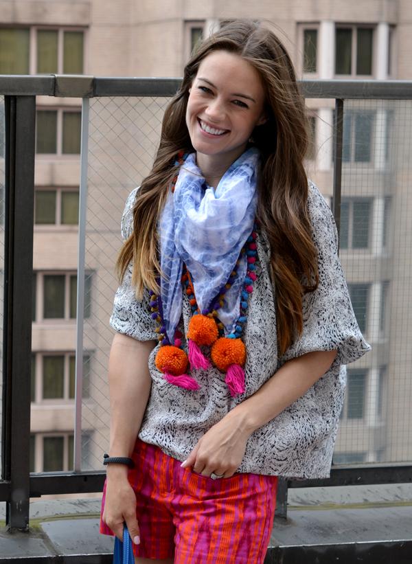 pom pom scarf, summer scarf, ikat shorts