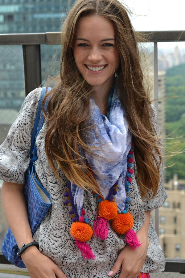 xosmash, smashing style, pom pom scarf, goyard bag
