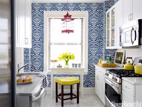 Ashley Whittaker, Rose Cumming Zebrine, Blue zebra wallpaper, House Beautiful