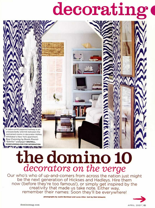 Domino Magazine Zebra wallpaper, Rose Cumming Zebrine