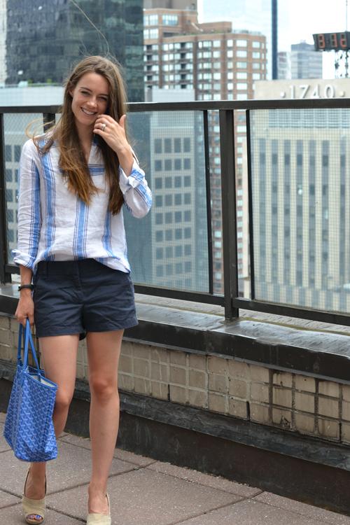 "3"" chino, navy shorts, blue and white shirt, Smashing Style"