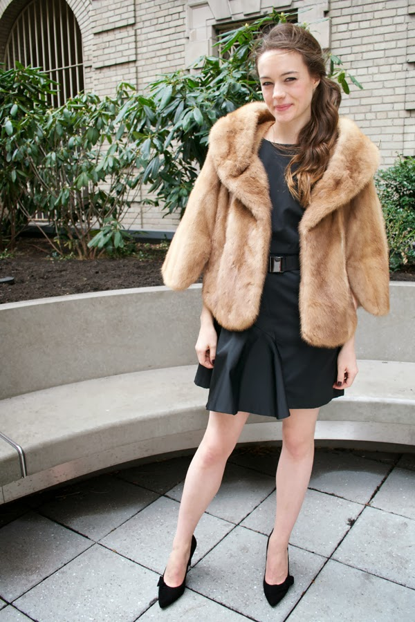 What to wear christmas eve, milly ny dress, vintage fur, Sole Society Elisa Suede bow pump