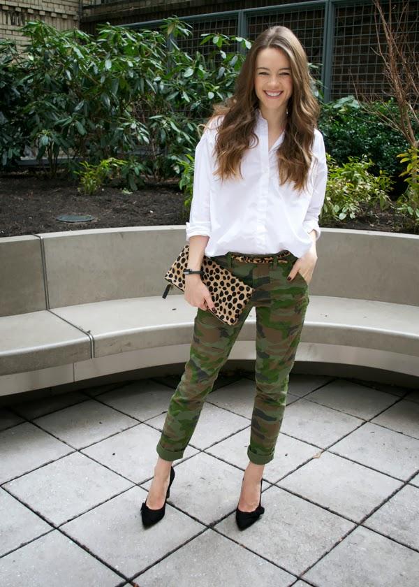 J.Crew camo pants, Madewell white shirt, J.Crew leopard belt, Clare Vivier leopard clutch