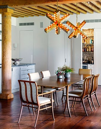 Tilton Fenwick, Industrial lights in dining room, industrial x lights