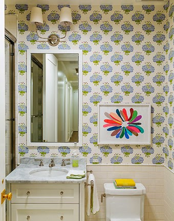 Tilton Fenwick, Tilton Fenwick kids bathroom, wallpapered bathroom